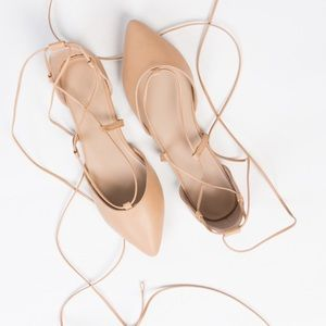 Zara leather lace up ballet flats